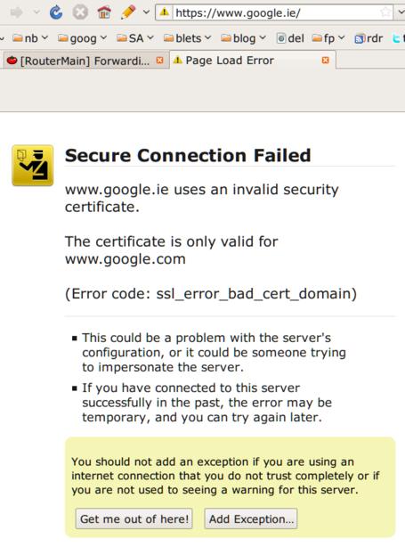Google.ie HTTPS fail